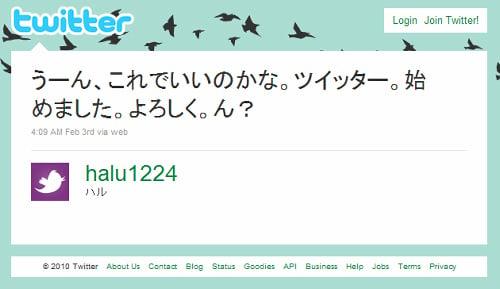 ツイッターをはじめた様子(halu1224)