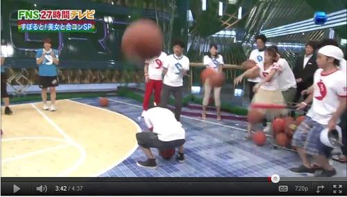 集団でボールをぶつけられる岡村
