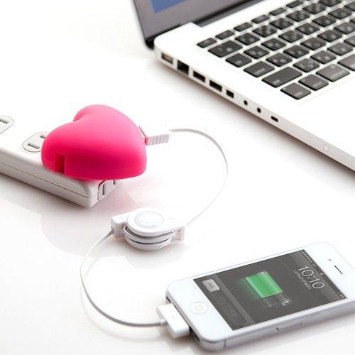 ハート型 USB充電器(USB-ACアダプタ・iPhone・スマートフォン対応)700-AC-004シリーズ