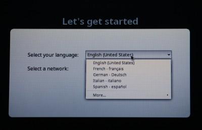 初期設定画面。まずはその他から日本語を選択